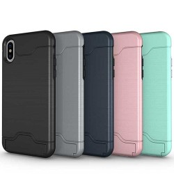 Shockproof cover case for iPhone X with stand & card holder