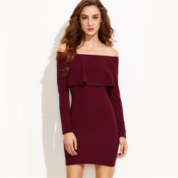 Off shoulders & ruffle - mini dress with long sleeve