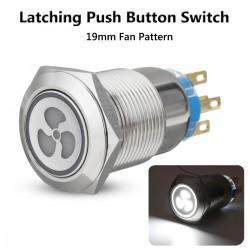 12v 19mm - Lüfterdruckschalter mit LED - Motorstart - selbstsperrende Blende