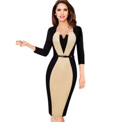 Elegant - slim - women's dress with belt