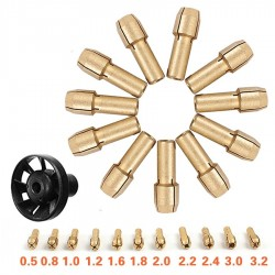 Brass Collet Chuck 0.5/0.8/1.0/1.2/1.6/1.8/2.0/2.2/2.4/3.0/3.2mm + M8*0.75 Dust Blower - Dremel Rotary