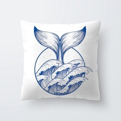 Blue & white sea patterns - pillowcase - cushion cover 45 * 45cm