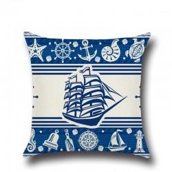 1 Pcs Anker Boot Sea Serie Nautical Blau Baumwolle Leinen Werfen Kissen Kissen Abdeckung Hause Dekor