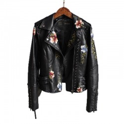 Punk style - floral embroidery - leather jacket