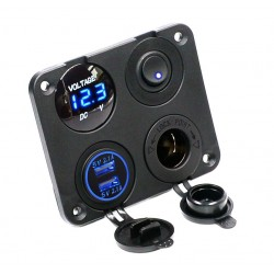 Dual USB socket charger 2.1A+2.1A + 12V power outlet + ON-OFF switch LED voltmeter 4 in 1 charger panel for car & motorcycle