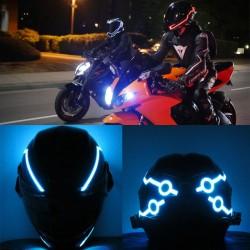Flashing LED helmet strip for motorcycle night riding - set