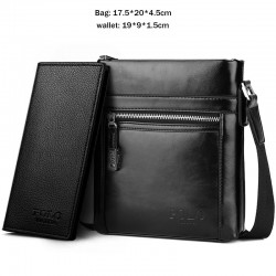 Classic POLO - waxy leather - crossbody shoulder bag with wallet - set