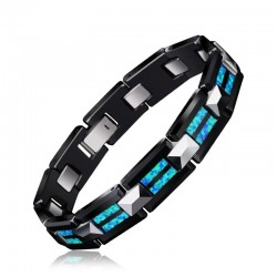 Natural opal tungsten - steel black ceramic bracelet