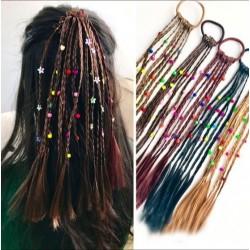 Handgemaakte pruik voor kinderen - elastische haarband met kralen