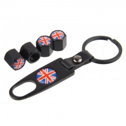 UK flag - car tyre valve caps with tool wrench keychain