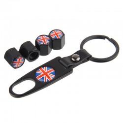 UK-Flagge - Autoreifen Ventilkappen mit Schlüssel