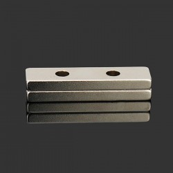 N35 strong neodymium magnet block 40 * 10 * 4mm - countersunk with 2 holes 2pcs