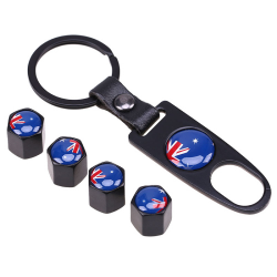 Stainless steel car wheel air valve caps with country flag