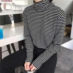 Frauen Rollkragen Korean Stil T Hemd Harajuku Top Lange rmeln Gestreiften Tops weibliche t-shirt So