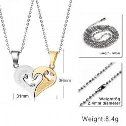 Vnox 2 teilelose Liebe Herz Paare Halskette Anhnger Edelstahl Bestfriend Schmuck fr Mnner Frauen