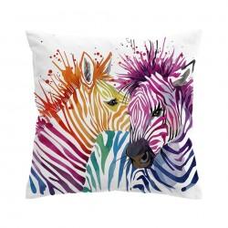 Bunte Safari-Zebras - Kissenbezug