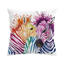 Colorful safari zebras - cushion cover