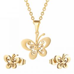 Gouden en zilveren oorbellen en ketting - sieradenset