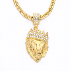 Luxury chunky gold punk lion head pendant necklace