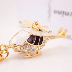 Crystal golden helicopter - keychain