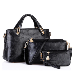 Elegant snake skin leather bag - 3 pcs set