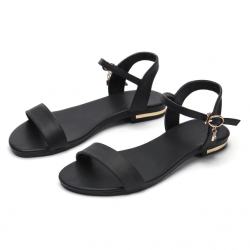 Genuine leather flat sandals