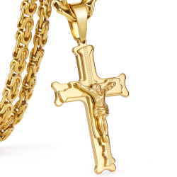 Gold color stainless steel jesus cross pendant necklace