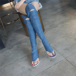 Denim cross lace up - knee high - gladiator shoes