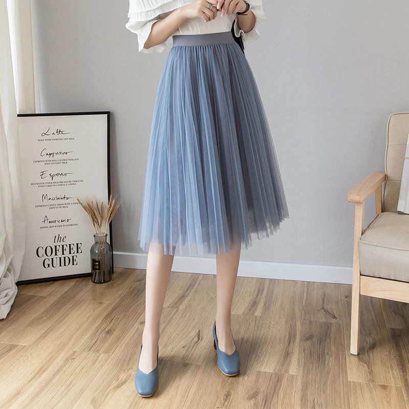 Fashion midi pleated skirt