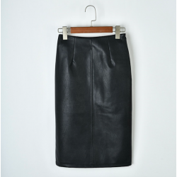2019 women PU leather midi skirt