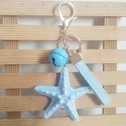 Keychain with starfish & pearls
