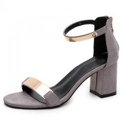 Shiny medium heel sandals