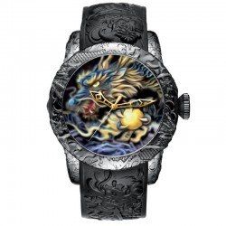 Luxury waterproof quartz watch with dragon sculpture