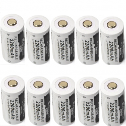 CR123A 16340 - 2200mAh 3.7V - rechargeable battery 10 pieces