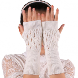 Long knitted fingerless gloves