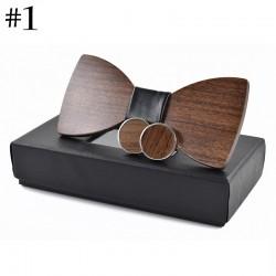 Modieuze houten vlinderdas en manchetknopen - set