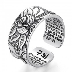 Silver ring with lotus - resizable - unisex