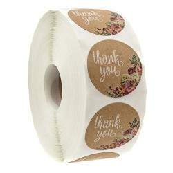Thank you - natural kraft paper - round stickers 500 / 1000 pieces