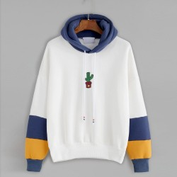 Hooded pullover with cactus print