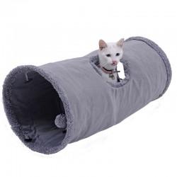 Opvouwbare suede tunnel voor huisdieren met bal en stalen frame