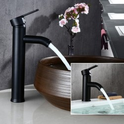 Black stainless steel basin faucet