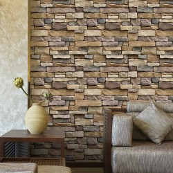 3D brick stone - rustic wallpaper - self-adhesive sticker- removable