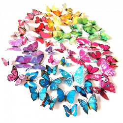 3D butterflies wall stickers - fridge magnets - 12 pieces