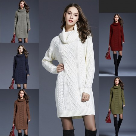 Long knitted sweater with turtleneck - winter dress
