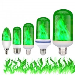 3W 5W 9W - E27 E26 E14 E12 Led 85-265V - bulb with fire effect - green