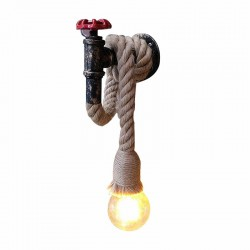 Industrial pipe - vintage wall lamp with hemp rope