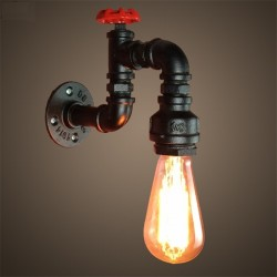 American industrial pipe - iron wall lamp