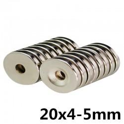 N35 Neodym-Zylindermagnet - super stark - Senkloch - 20 * 4 * 5mm 10 Stück