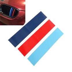 3D Carbon Fiber voor BMW grill - strepen sticker 25 * 5 cm
