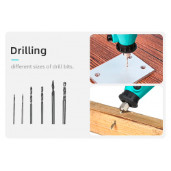 Mini electric drill with drill bits - variable speed - set